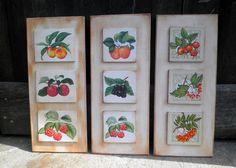 Retazos de Madera: Cuadros de cocina setas y frutas
