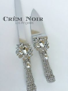 Gatsby-Inspired Wedding Crystal Encrusted Cake Knife and Server Set (Style - Audrey)