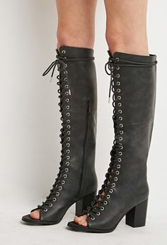 peep-toe lace-up knee high boots