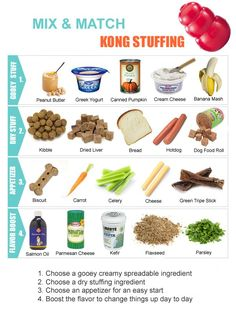 Best Toys For Bulldogs - Our Top 3 Picks Kong Stuffing ideas for dobermans. Mix and match chart of kong foods.Kong Stuffing ideas for dobermans. Mix and match chart of kong foods. Dog Treat Recipes, Dog Food Recipes, Kong Treats, Jouet Kong, Hotdog Dog, Dog Enrichment, Pet Sitter, Food Dog, Stuffing Mix