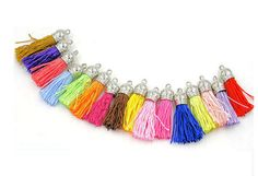 Colorful SILKY Satin Tassel, Silver Cap Tassel Charm Pendants. SMALL, SILVER Cap Tassels. Packed In 6 Assorted Color Mix.