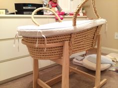 Bassinets & Cradles Nursery Furniture Painstaking Moses Basket In Vimini Con Stand