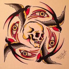 Skull sparrows Traditional Swallow Tattoo, Traditional Tattoo Old School, Traditional Tattoo Design, Og Abel Art, Body Art Tattoos, Tattoo Ink, Leg Tattoos, Arm Tattoo, Tatoos