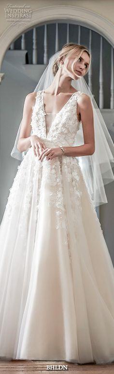 bhldn spring 2016 bridal gowns stunning romantic a  line ball gown wedding dress flora applique v plunging neckline style ariane #alineweddingdress #ballgown #weddingdresses