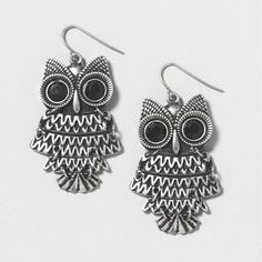 Antique Silver and Black Owl Drop Earrings | Claire's