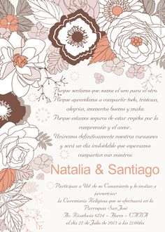 Wedding invitation card. Tarjeta invitación para boda disponible en www.elsurdelcielo.com