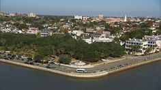 """Ariel view of White Point Gardens, tip of the Charleston penninsula.  """"Gentleman"""" pirate Stede Bonnet was hanged here."""