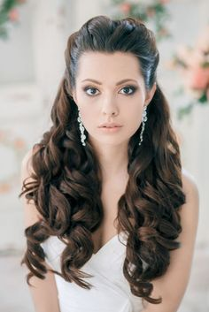 Classy and Elegant  Black Half Up Half Down Wavy Wedding Hairstyle