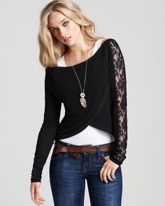 free people fuzzy lace sleeve sweater