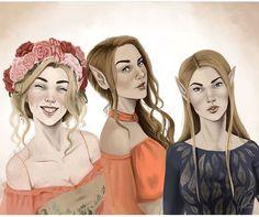 Elain, Nesta, and Feyre