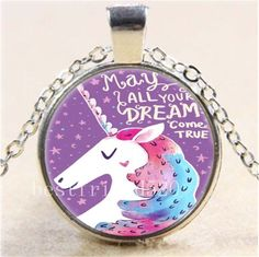 Rainbow Unicorn Photo Cabochon Glass Tibet Silver Chain Pendant Necklace#6343 #Handmade #Pendant