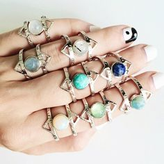 ALOHA GAIA - ATHENA Rings with Labradorite, Green Fluorite, Amazonite, Chalcedony, Lapis Lazuli, Aquamarine, Obsidian, Rainbow Moonstone, Tourmaline Quartz. http://alohagaia.com/collections/voices-of-the-gaia/