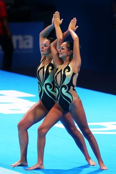 Bianca Benavides and Violeta Mitinian of Costa Rica compete in the Synchronized Swimming Duet preliminary round on day four of the 15th FINA World Championships at Palau Sant Jordi on July 23, 2013 in Barcelona, Spain.