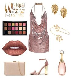 """""""Rose gold glam"""" by zozo160901 ❤ liked on Polyvore featuring Steve Madden, Miss Selfridge, Huda Beauty, Lime Crime, Marika and Christian Dior"""
