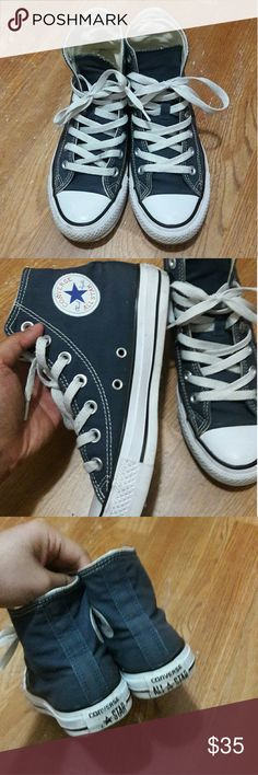 NAVY high top converse Worn more than ten times but are still in good condition. Women size 6 Converse Shoes Sneakers