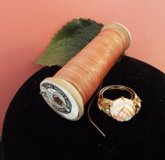 Pink Coral Rose Ring - Ajustable up to size 7 by VintageVaultGifts on Etsy