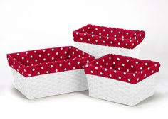 Red and White Polka Dot Basket Liners for Sweet Jojo Designs Little Ladybug Bedding Sets