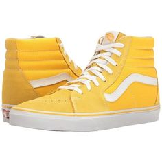 Vans SK8-Hi ((Suede/Canvas) Spectra Yellow/True White) Skate Shoes ($65) ❤ liked on Polyvore featuring shoes, sneakers, yellow canvas shoes, vans shoes, vans sneakers, white sneakers and suede skate shoes