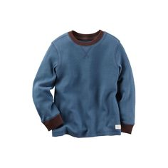 Baby Boy Carter's Contrast Color Thermal Long Sleeve Tee, Size: 3 Months, Med Blue