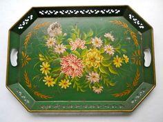 Vintage Floral Toleware Tray