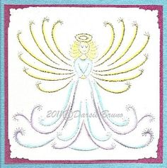 Sweet Angel Embroidery Pattern for Greeting Cards