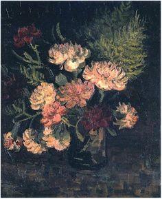 Vincent van Gogh Florero con los claveles pintura