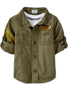 Graphic-Patch Roll-Up Shirts for Baby | Old Navy