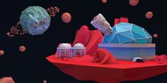 Low poly space island 3 on Behance