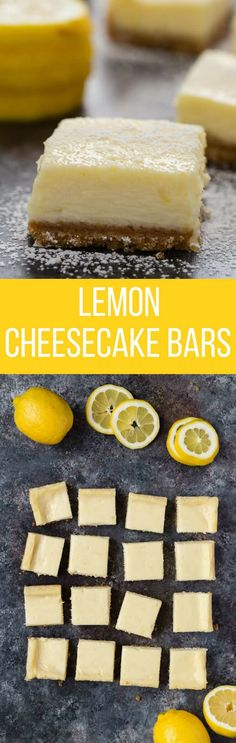 ***Easy Lemon Cheesecake Bars ~ the perfect balance of sweet and sour, these creamy lemon bars will taste like they were made in a bakery. Lemon Desserts, Köstliche Desserts, Lemon Recipes, Sweet Recipes, Baking Recipes, Cookie Recipes, Delicious Desserts, Dessert Recipes, Yummy Food