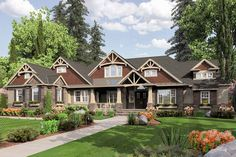 Eplans Traditional House Plan - Elegant Lodge Style Home - 3275 Square Feet and 3 Bedrooms from Eplans - House Plan Code Craftsman Style House Plans, Dream House Plans, House Floor Plans, Craftsman Houses, Architectural Design House Plans, Architecture Design, Master Suite, Master Bath, Outdoor Living Rooms