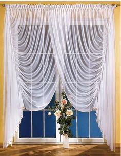 Firana salonowa Anna 400 x 250 cm Window Drapes, Hanging Curtains, Window Coverings, Window Treatments, Fold Bed Sheets, English Cottage Interiors, Scarf Curtains, Curtain Designs, Kitchen Curtains