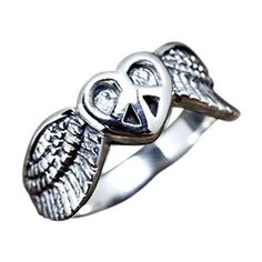 Our Peace Wings Ring offer an original reading of the iconic piece sign. Encircled into a heart and adorned with two wings, it transmits Piece & Love message Silver Skull Ring, Mens Silver Rings, Sterling Silver Rings, Skull Rings, Silver Jewelry, Mens Rings For Sale, Rings For Men, Gothic Rings, Biker Rings