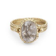 Rose cut grey diamond ring from Ruth Tomlinson