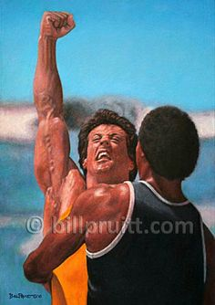 Items similar to ORIGINAL oil painting Rocky 3 Apollo Creed Sylvester Stallone Rocky Balboa Bill Pruitt on Etsy Rocky Film, Rocky 3, Movie Shots, I Movie, Stallone Rocky, Apollo Creed, Silvester Stallone, Karate Kid, Fictional Heroes