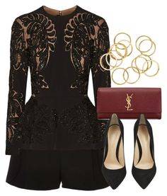 """""""Style #9261"""" by vany-alvarado ❤ liked on Polyvore featuring Elie Saab, Yves Saint Laurent and Gianvito Rossi"""