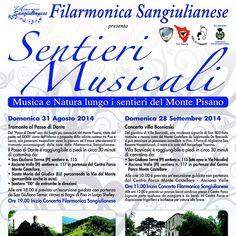 #Sentieri Musicali con la #Filarmonica Sangiulianese e FIE #Pisa 31/08 e 28/09 2014 #Musica e #Natura lungo i sentieri del #MontePisano