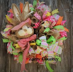 Zazzy Country on Facebook Deco Mesh Wreaths, Door Wreaths, Grapevine Wreath, Easter Crafts, Holiday Crafts, Easter Ideas, Trendy Tree, Easter Wreaths, Cute Crafts