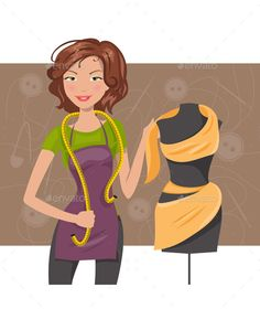 Buy Woman Seamstress near a Manikin by artbesouro on GraphicRiver. Woman seamstress work with fabric and dummy Dress Form Mannequin, Become A Fashion Designer, Modelista, Sewing Art, Boutique Design, Cartoon Pics, Silk Painting, Pattern Paper, Fashion Sketches