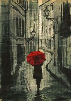 Print Art canvas best gift Ink Drawing Sketch City Street Painting Illustration Girl with Umbrella Autographed signed Emanuel M Ologeanu Drawing Sketches, Art Drawings, Newspaper Art, Creation Art, Umbrella Art, Street Painting, Art Sculpture, Medium Art, Painting & Drawing