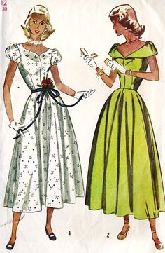 1940s Misses Summer Party Dress, Prom Dress, Cocktail Dress Vintage Sewing Pattern, Simplicity 2412 bust 30""