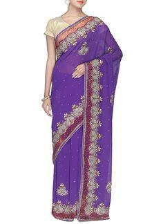 Purple Embellishes Stones Saree