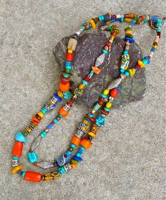 DOUBLE Strand NECKLACE - African Trade Beads - Handmade Jewelry - Tribal Necklace - Semi-precious gemstones. $210.00, by Joy Moos Collection via Etsy. (26 inches)