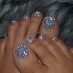 Nail art Christmas - the festive spirit on the nails. Over 70 creative ideas and tutorials - My Nails Pretty Toe Nails, Cute Toe Nails, Fancy Nails, Toe Nail Art, Acrylic Nail Salon, Fabulous Nails, Gorgeous Nails, Glitter Toe Nails, Gel Toe Nails