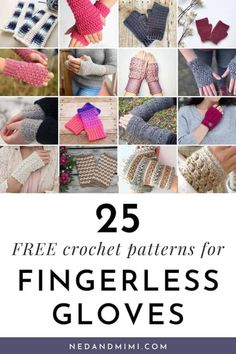 Crochet fingerless gloves or wrist warmers are perfect accessories for those times when you need to keep your hands warm, but still need to have your fingers free to use your phone or type etc. They are super quick to work up, make excellent gifts (especially at the last minute!), and great for using up leftover yarn too. These 25 fingerless gloves crochet patterns are all FREE so you can get started on them right away. Crochet Fingerless Gloves Free Pattern, Crochet Gloves, Crochet Yarn, Free Crochet, Crochet Wrist Warmers, Hand Warmers, Crochet Winter, Crochet Patterns, Crochet Ideas
