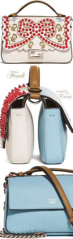 Brilliant Luxury♦Fendi Candy Colours Spring 2017♦Double Micro Studded Leather Baguette Bag