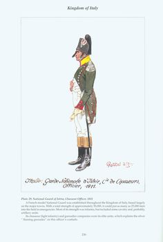 Kingdom of Italy: Plate National Guard of Istria, Chasseur Officer, 1811 Kingdom Of Italy, Italian Army, French Empire, French Revolution, Napoleonic Wars, France, National Guard, The Republic, Naples
