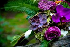 Love the succulents add interest and dimension in this bouquet by Lauren
