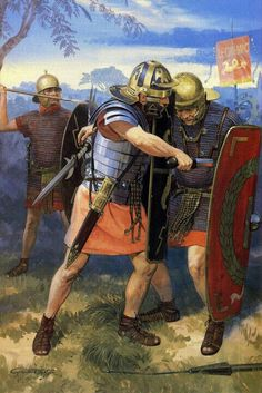 Roman soldiers fighting each other, Year of the Four Emperors, 69 AD.