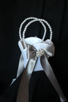 WHITE or IVORY Satin Flower Girl Basket with by CustomRingChests, $30.00