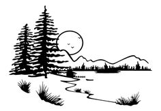 Lake Scene Coloring Pages | mountain scenery colouring pages